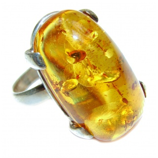 LARGE Genuine Baltic Amber .925 Sterling Silver handmade Ring size 8 adjustable