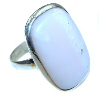 Pink Opal oxidized .925 Sterling Silver handcrafted ring size 7 1/2