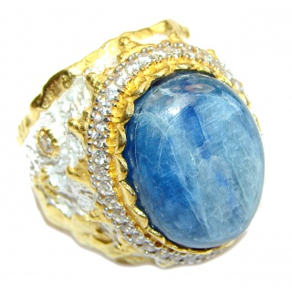 Huge Natural 58ct Kyanite .925 Sterling Silver ITALY MADE ring size 9