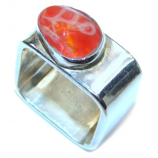 Oramge Power Precious Mexican Opal .925 Sterling Silver handmade ring s. 5 1/2
