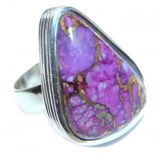 Huge Purple Turquoise .925 Sterling Silver handcrafted ring; s. 9 1/2