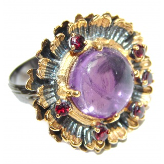 Vintage Style Natural Amethyst 14K Gold over .925 Sterling Silver handcrafted Ring s. 7 adjustable