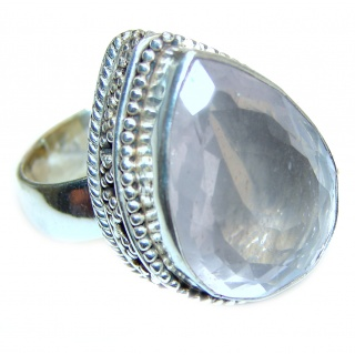 Authentic Rose Quartz .925 Sterling Silver handcrafted ring s. 7