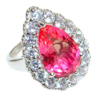 Genuine 25ct Pink Tourmaline .925 Sterling Silver handcrafted ring; s. 8 1/4