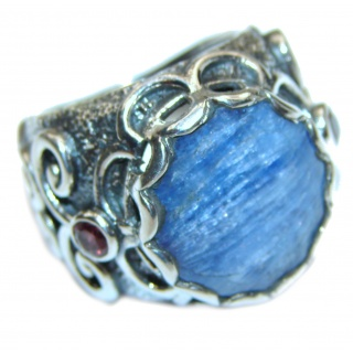Huge Natural 26ct Kyanite .925 Sterling Silver handcrafted ring size 6 1/4