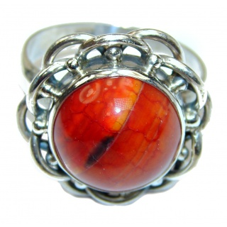 Beautiful Mexican Fire Agate Sterling Silver ring s. 9