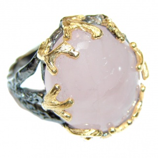 Authentic Rose Quartz 14k Gold .925 Sterling Silver handcrafted ring s. 8