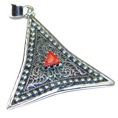 Genuine Coral .925 Sterling Silver handcrafted Pendant
