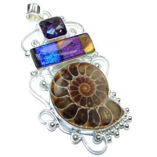 Back to Nature Brown Ammonite Fossil .925 Sterling Silver handmade LARGE Pendant