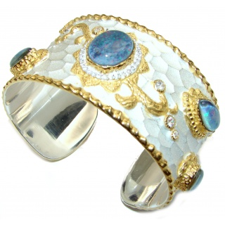 Enchanted Beauty Doublet Opal 24K Gold over .925 Sterling Silver antique patina Bracelet / Cuff