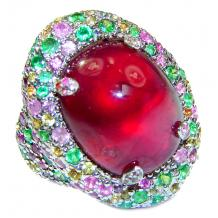 Large Genuine 32ctw Ruby Emerald  .925 Sterling Silver handcrafted  Statement Ring size  7 3/4