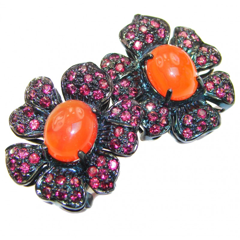 Spectacular Authentic Carnelian Ruby black rhodium over .925 Sterling Silver handmade earrings