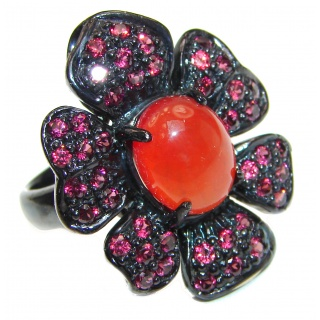 Large Natural Carnelian Ruby black rhodium over .925 Sterling Silver handcrafted ring size 8