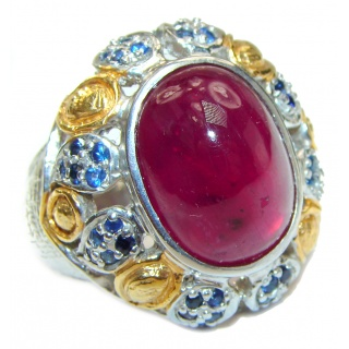 Large Genuine 32ctw Ruby Sapphire 18K Gold over .925 Sterling Silver handcrafted Statement Ring size 8