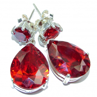 Great Red Cubic Zirconia Sterling Silver earrings