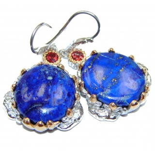 Large Outstanding Lapis Lazuli Garnet 18K Gold over Sterling Silver earrings