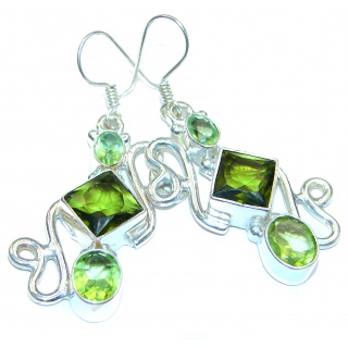 Exclusive Green Cubiz CIRCONIA .925 Sterling Silver Earrings
