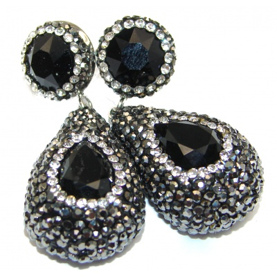 Huge Incredible Onyx Spinel .925 Sterling Silver handcrafted earrings