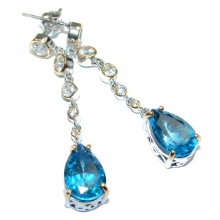 Deluxe genuine Swiss Blue Topaz 18K Gold over .925 Sterling Silver stud earrings