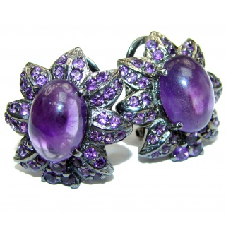 Large Authentic Brazilian Amethyst black rhodium over .925 Sterling Silver handmade earrings