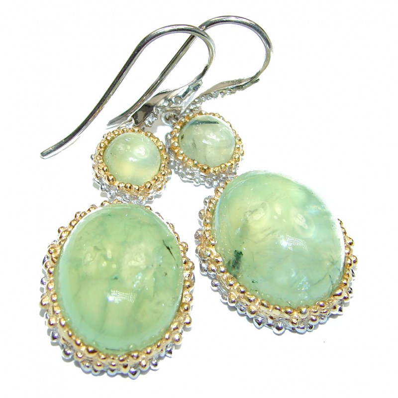 Large Juicy Authentic Moss Prehnite 14K Gold over .925 Sterling Silver handmade earrings