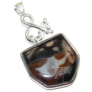 Unique Lace Agate Handmade .925 Sterling Silver Pendant