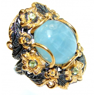 LARGE Natural Apatite 18K Gold over .925 Sterling Silver handmade ring s. 6 1/4