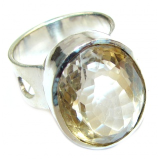Vintage Style Natural Citrine .925 Sterling Silver handcrafted Ring s. 7 1/2