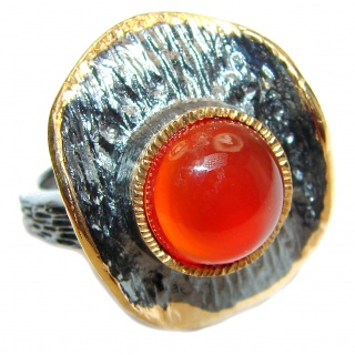 Spectacular Natural Carnelian 18K Gold over .925 Sterling Silver handcrafted ring size 7