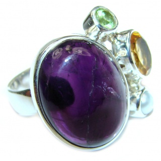 Spectacular genuine Amethyst .925 Sterling Silver handcrafted Ring size 8 adjustable