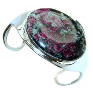 Beauty of Nature Ruby in Zoisite .925 Sterling Silver handmade Bracelet / Cuff