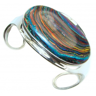 Huge Amazing Rainbow Calsilica .925 Sterling Silver handmade Bracelet / Cuff