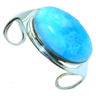 Caribbean AAAAA quality Blue Larimar .925 Sterling Silver handcrafted Bracelet / Cuff