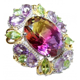 HUGE Oval cut BI-color Ametrine .925 Sterling Silver handcrafted Ring s. 7 1/2