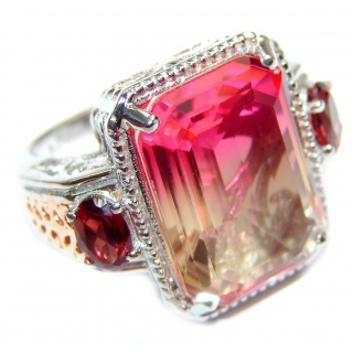 Genuine 25ct Pink Tourmaline color Topaz .925 Sterling Silver handcrafted ring; s. 6 3/4