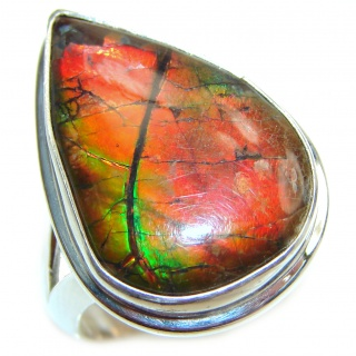 Good Energy Genuine Canadian Ammolite .925 Sterling Silver handmade ring size 7 adjustable