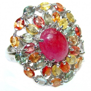 Large Genuine Tourmaline Ruby .925 Sterling Silver handcrafted Statement Ring size 8