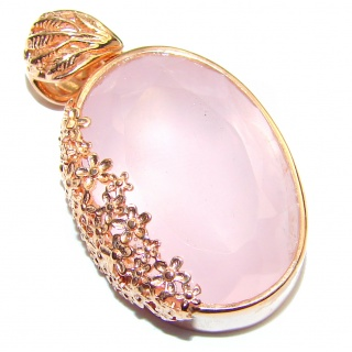 Perfect faceted Rose Quartz 18K Gold over .925 Sterling Silver handmade pendant