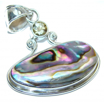 Natural Rainbow Abalone .925 Sterling Silver handmade Pendant