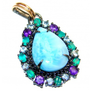 Reflection of Caribbean Sea Larimar Emerald Sapphire .925 Sterling Silver handmade pendant