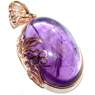 Purple Treasure Genuine Amethyst 14K Gold over .925 Sterling Silver handcrafted pendant
