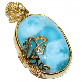 Authentic Dominican Republic Larimar 18K Gold over .925 Sterling Silver handmade pendant