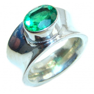 Authentic green quartz .925 Sterling Silver ring s. 8 1/4