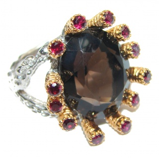 Champagne Smoky Topaz Garnet 14K Gold over .925 Sterling Silver Ring size 8 1/4