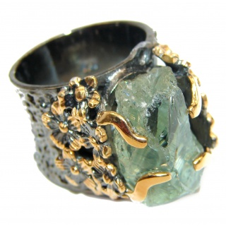 Huge Natural Rough Green Amethyst 14K Gold over .925 Sterling Silver handmade Statement Ring s. 7 3/4