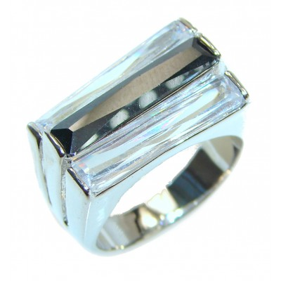Black and White Cubic Zirconia .925 Sterling Silver Cocktail ring s. 8