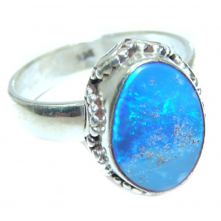 Australian Doublet Opal .925 Sterling Silver handcrafted ring size 8 3/4
