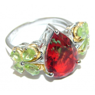 Pear cut Watermelon Tourmaline .925 Sterling Silver handcrafted Ring s. 8 1/4