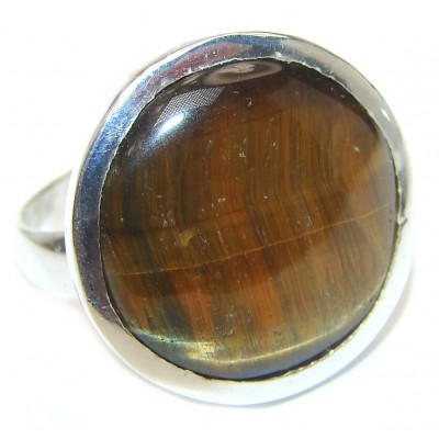 Bold Silky Golden Tigers Eye .925 Sterling Silver handmade ring s. 8 1/2