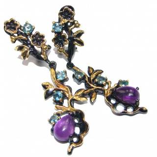 Large Authentic Brazilian Amethyst black rhodium Gold over .925 Sterling Silver handmade earrings